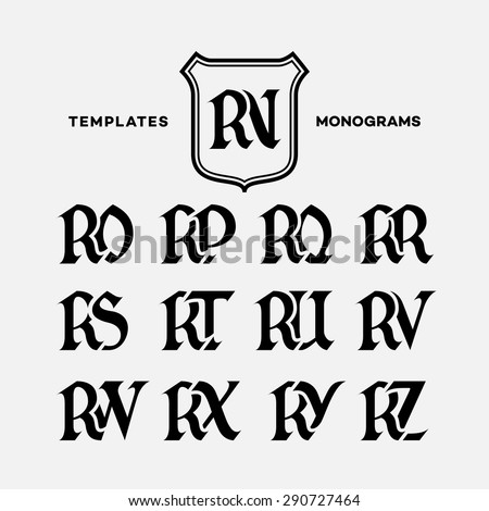 Monogram design template with combinations of capital letters RN RO RP RQ RR RS RT RU RV RW RX RY RZ. Vector illustration. Zdjęcia stock ©