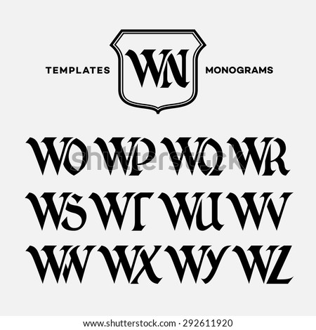 Monogram design template with combinations of capital letters WN WO WP WQ WR WS WT WU WV WW WX WY WZ. Vector illustration. Zdjęcia stock ©