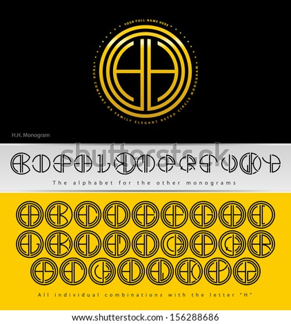 Monogram Design with letter H and all combinations with ...