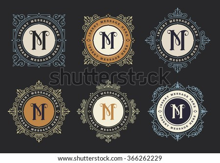 Monogram emblem insignia set. Calligraphic logo ornament vector design. Decorative frame for Restaurant Menu, Hotel, Jewellery, Fashion, Label, Sign, Banner, Badge