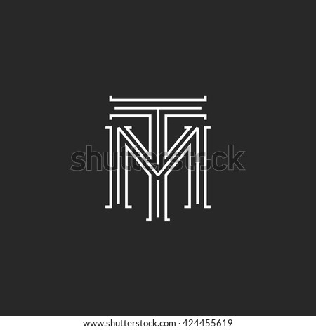 Monogram hipster initials TM logo letters, overlapping connection couple merger T M letters thin lines, combination two linear weaving symbol for wedding invitation emblem Stock fotó ©