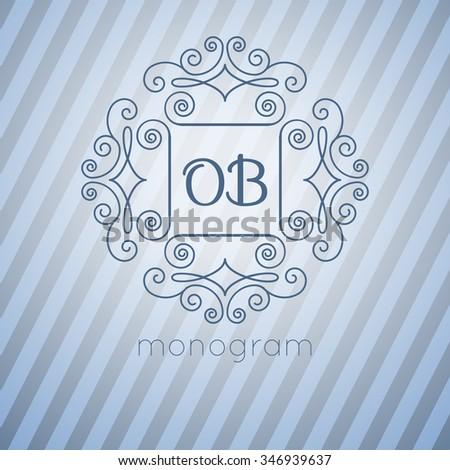 Monogram in retro style. Stock vector.