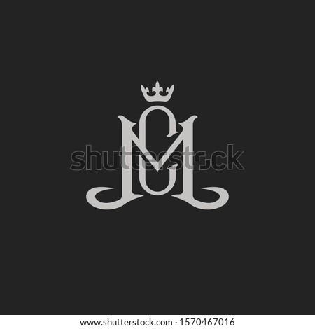 Monogram Initial Letter MC / CM Hipster Lettermark Logo For Branding or T shirt Design Zdjęcia stock ©