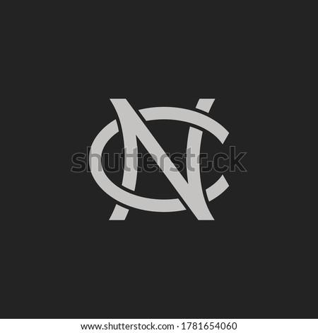 Monogram Initial Letter NC or CN Hipster Lettermark Logo For Branding or T shirt Design Stock fotó ©
