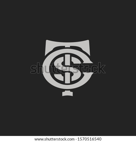Monogram Initial Letter T + Letter S + Letter C Hipster Lettermark Logo For Branding or T shirt Design Stok fotoğraf ©