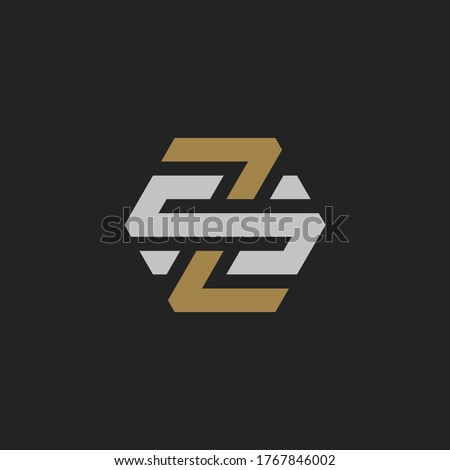 Monogram Initial Letter ZS or SZ Hipster Lettermark Logo Design Stock fotó ©