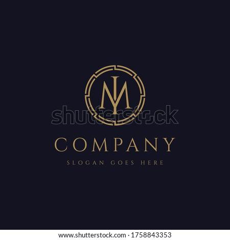Monogram letter IM logo, letter MI logo icon vector template on dark background Stok fotoğraf ©