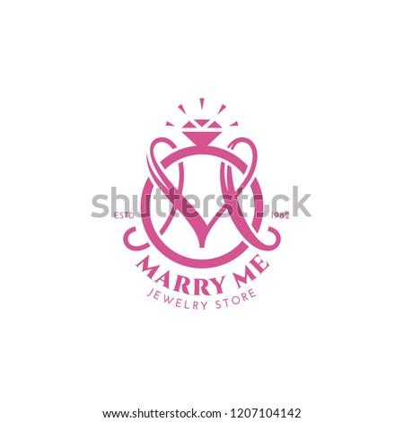 Monogram letter M with wedding ring. Vector illustration.