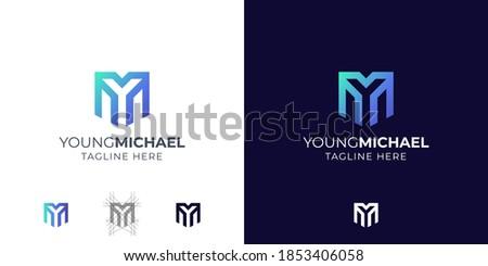 Monogram Letter Y and M logo design inspiration Foto stock ©