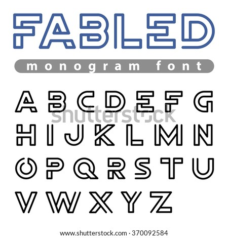 Monogram Logo Font vector alphabet design Negative space linear style. ABC Letter Logotype templates. Creative outline typeface