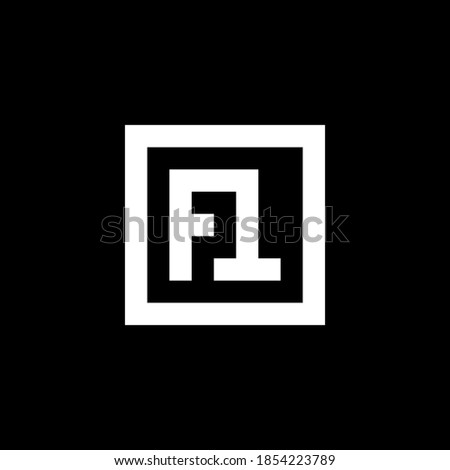 monogram logo initials letters ST or FT isolated on black background Stock fotó ©