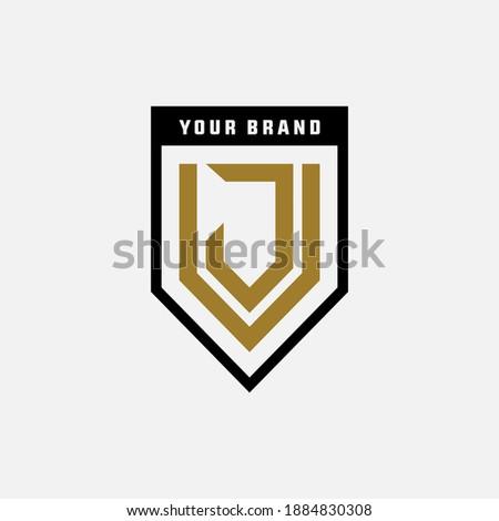 Monogram logo letter J, V, JV or VJ modern, simple, sporty, black and gold color on white background Stock fotó ©