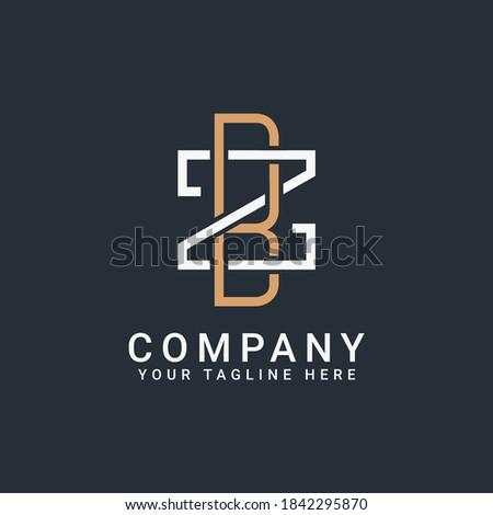 monogram logo letters BZ or ZB in gold and white Zdjęcia stock ©