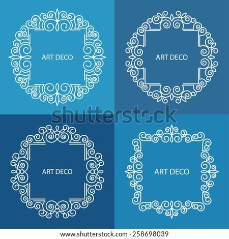Monogram logos set graphic design emphasizing retro for Monogram homes floor plans