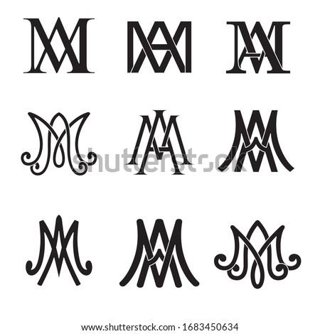 Monogram of Ave Maria symbols set. Religious catholic signs.  Foto stock ©