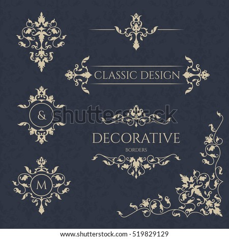 Monograms and borders, frames. Classic ornament. Graphic design pages. Seamless pattern.