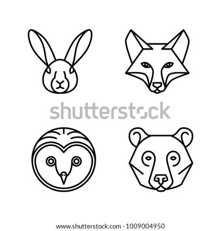 Monoline Animal Faces - Set of 4 Monoline Animal Faces: Fox, Hare, Bear, Owl