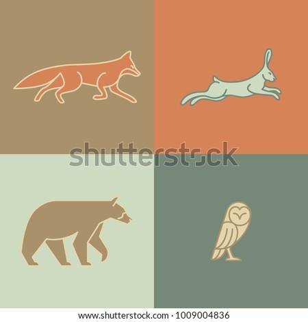 Monoline Animals - Set of 4 Monoline Animals: Fox, Hare, Bear, Owl