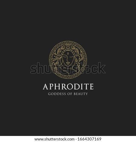 Monoline aphrodite greek women goddes of beauty with decorative circle vector illustration Foto d'archivio ©