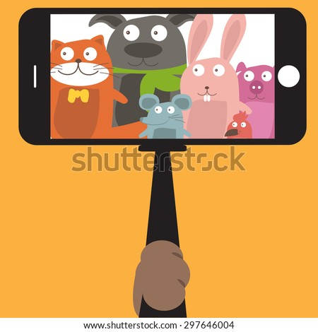 monopod selfie with cartoon
