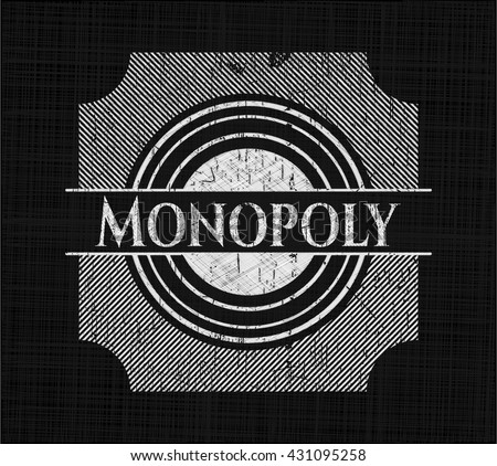 Monopoly written with chalkboard texture