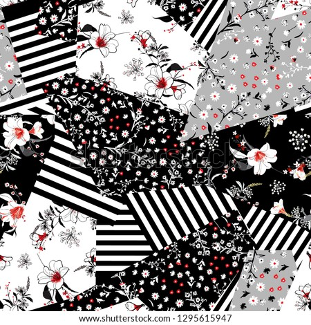 Monotone black and white  in many kind of blooming flowers seanless pattern mixed in difference style of floral seamless pattern in vector,design for fashion,wallpaper,web,fabric and all prints