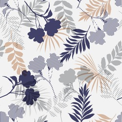 Monotone blue and grey of silhouette tropical foliage and fill in stripe leaves in colorful mood  seamless pattern in vector for fashion fabric and all prints