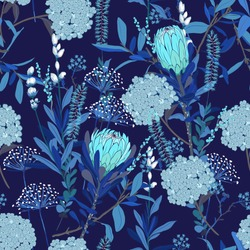 Monotone blue floral pattern in the many kind of flowers. Tropical botanical  . Seamless vector texture.fashion prints. Printing with in hand drawn style on dark navy blue  background.