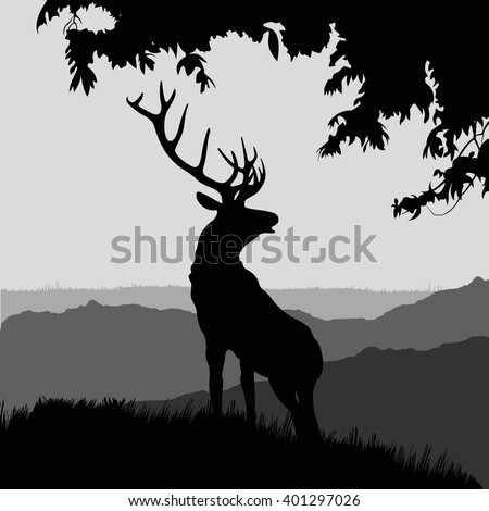 monotonic illustration of an elk. silhouette of elk in the natural environment.  illustration of elk on a landscape.
