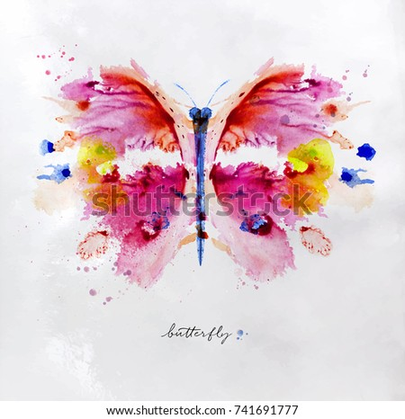 Monotype vivid colorful butterfly drawing with different colors on paper background