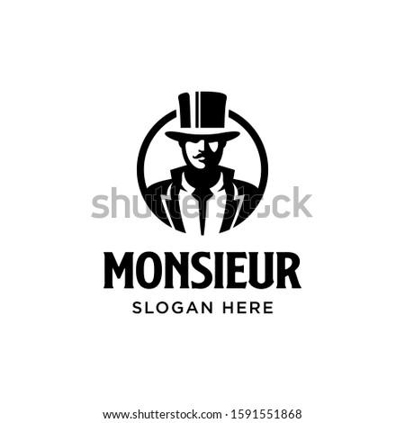 Monsieur logo. Gentleman figure with mustache. Vintage classic retro. Branding for whisky, fashion, barber, beautique, salon, antique stuff, etc. Isolated logo vector inspiration. Graphic designs Foto stock ©