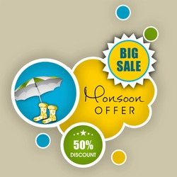 Monsoon offer and sale banner, flyer or poster.