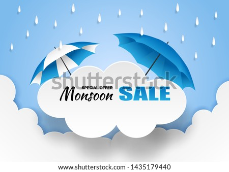 Monsoon, Rainy Season sale background . Cloud rain and umbrella  on blue sky. vector.