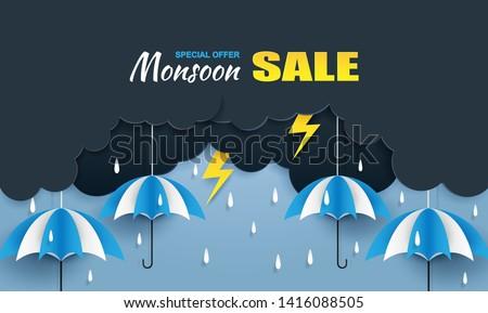 Monsoon, Rainy Season sale background . cloud rain ,thunderbolt and umbrella hanging on blue sky. paper art style.vector.