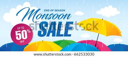Monsoon sale banner template design