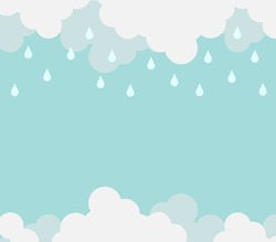 Monsoon season background template with cloud and rain for banner poster flyer or advertising. Flat design for business financial marketing banking sale advertisement concept cartoon illustration.