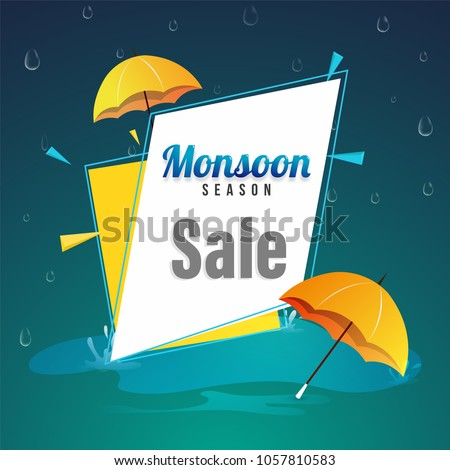 Monsoon Season Sale Poster, or Sale Banner Design with Colorful Umbrellas, and raindrops.