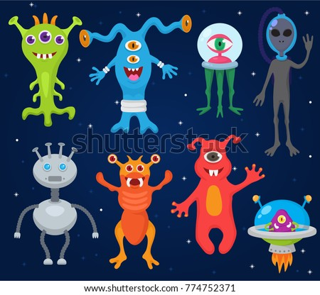 monster alien vector cartoon