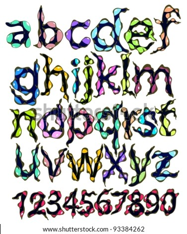 monster alphabet and figures, cartoon vector illustration