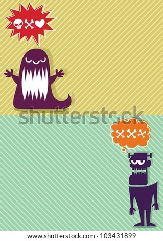 Monster Backgrounds 3: 2 horizontal backgrounds with cartoon monsters. A4 proportions.  No transparency and gradients used.
