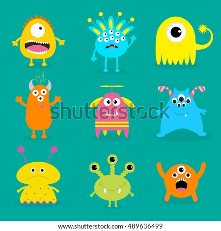 monster big set cute cartoon