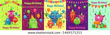 monster birthday greeting card