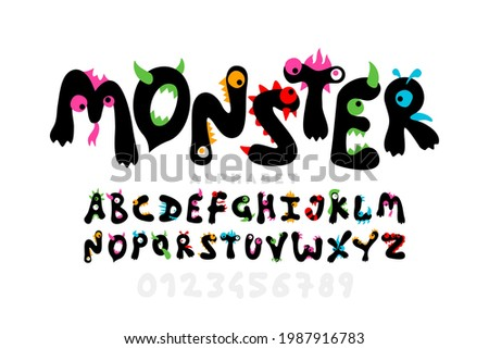 Monster cartoon style font design, childish colorful playful alphabet, letters and numbers vector illustration Photo stock ©