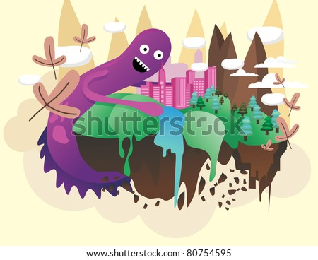 monster destroying a city vector