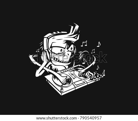 Monster dj beard mixing music on the turntables. Vector Illustration.