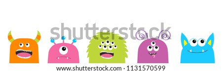 Monster face set. Cute cartoon scary funny character. Happy Halloween. Colorful silhouette. Baby collection. T-shirt design. White background. Flat design. Vector illustration