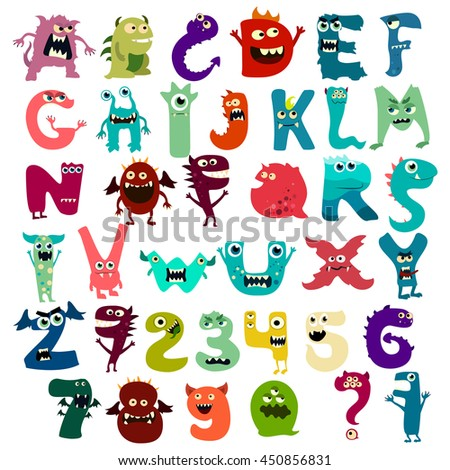 monster funny cut alphabet with