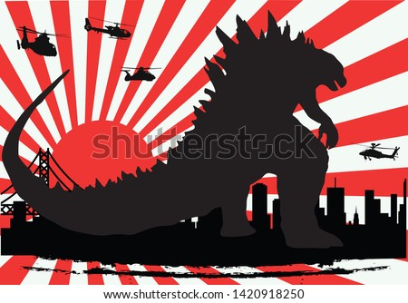 monster Godzilla famous movie Japanese icon art design vector template with kamikaze background