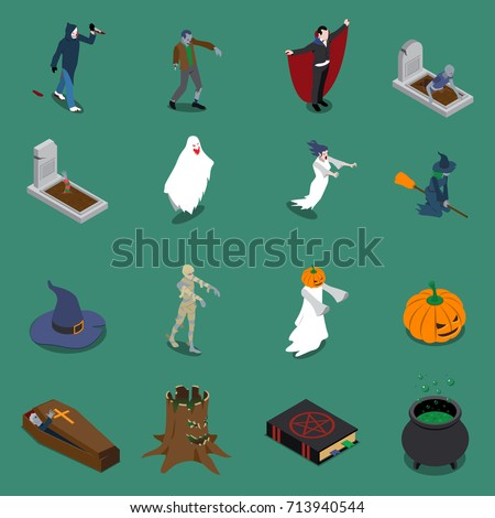 monster halloween isometric