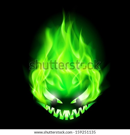monster head blazing in green